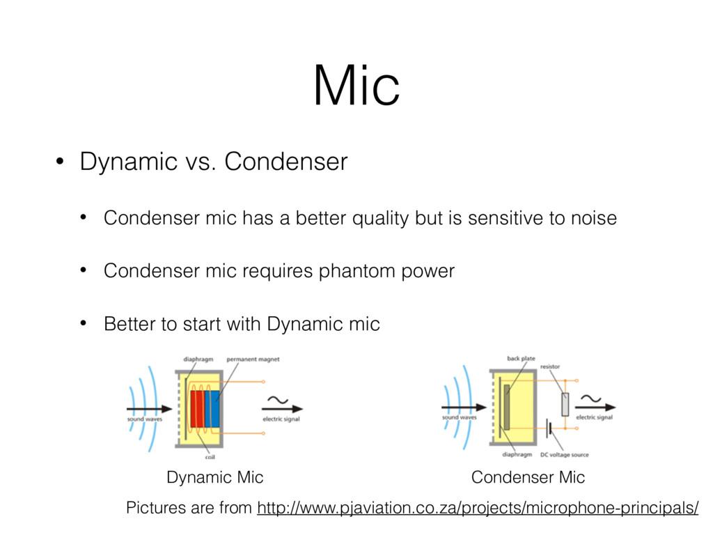 Mic • Dynamic vs. Condenser • Condenser mic has...