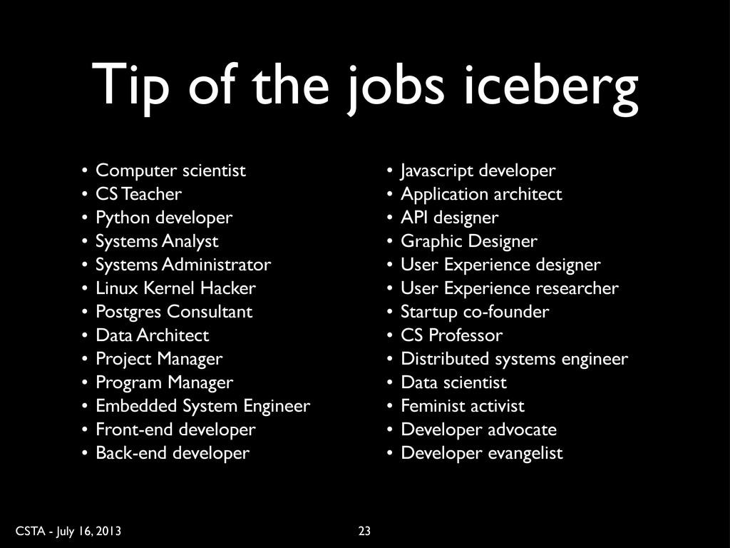 CSTA - July 16, 2013 Tip of the jobs iceberg 23...