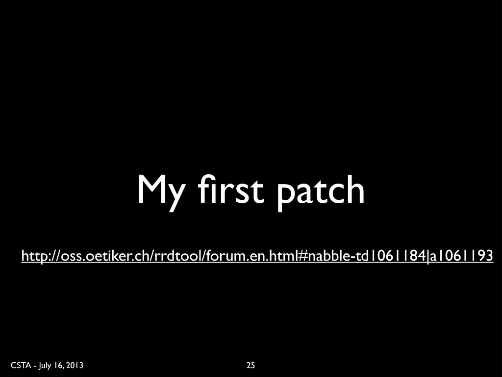 CSTA - July 16, 2013 My first patch 25 http://os...