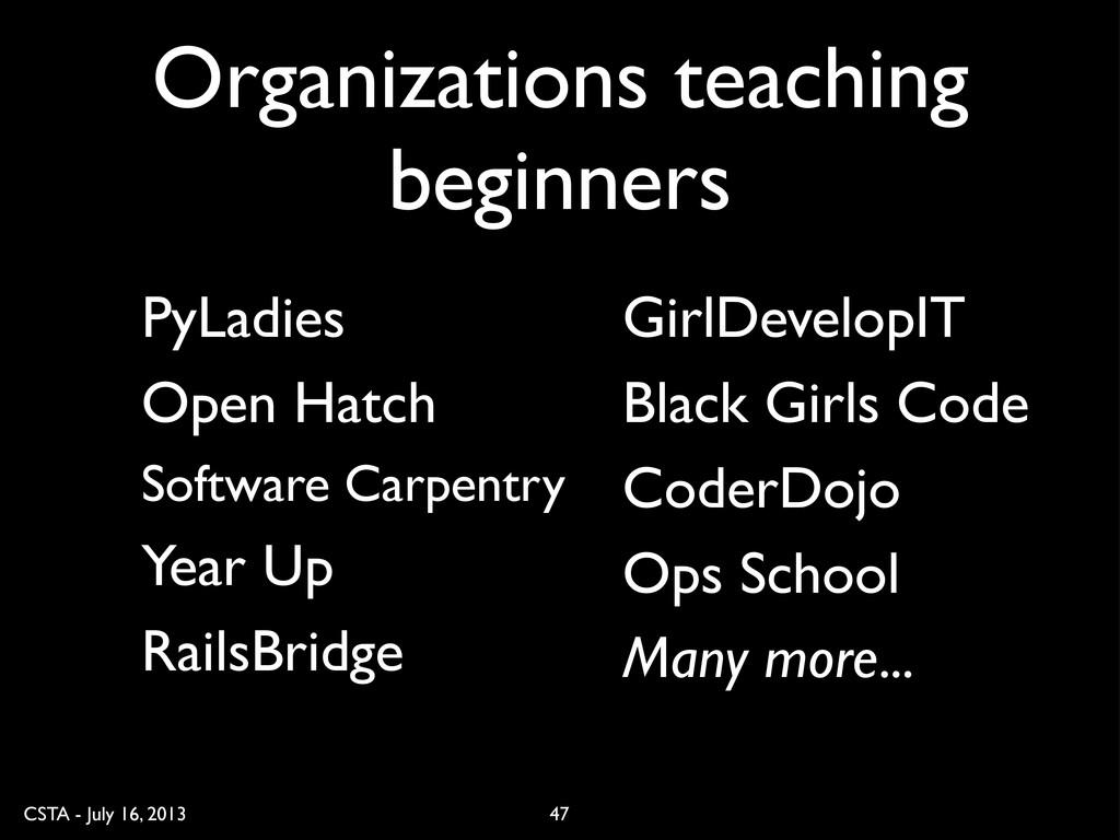CSTA - July 16, 2013 Organizations teaching beg...
