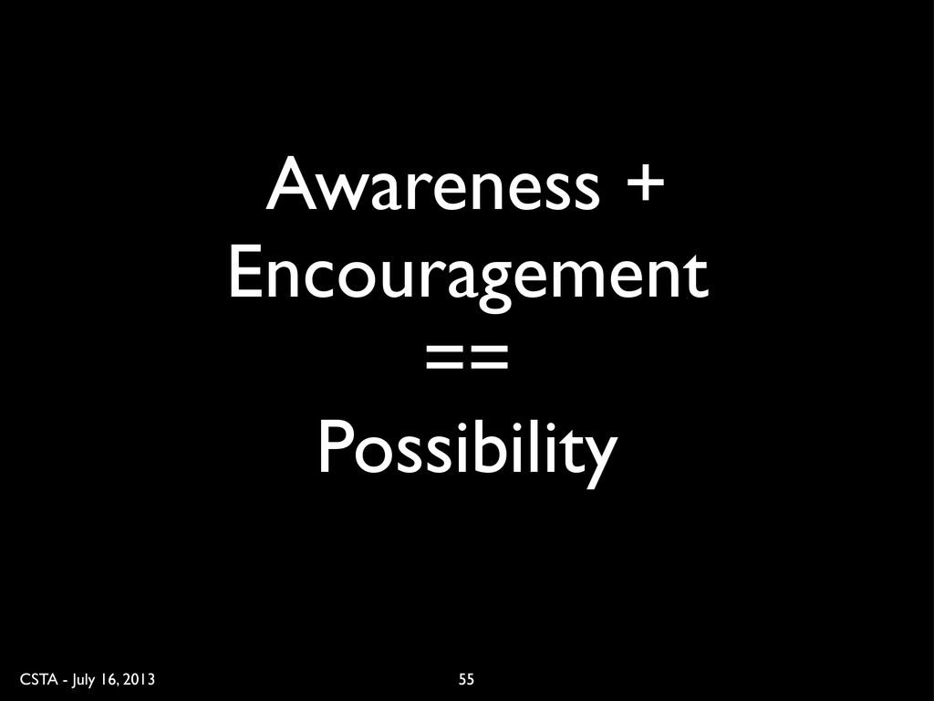CSTA - July 16, 2013 55 Awareness + Encourageme...