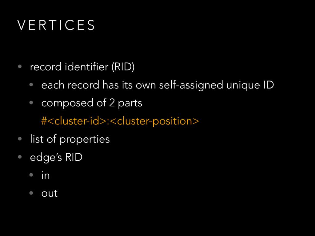 V E R T I C E S • record identifier (RID) • eac...