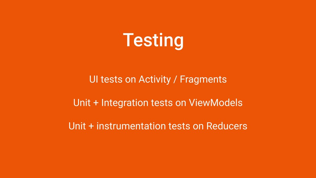 Testing UI tests on Activity / Fragments 