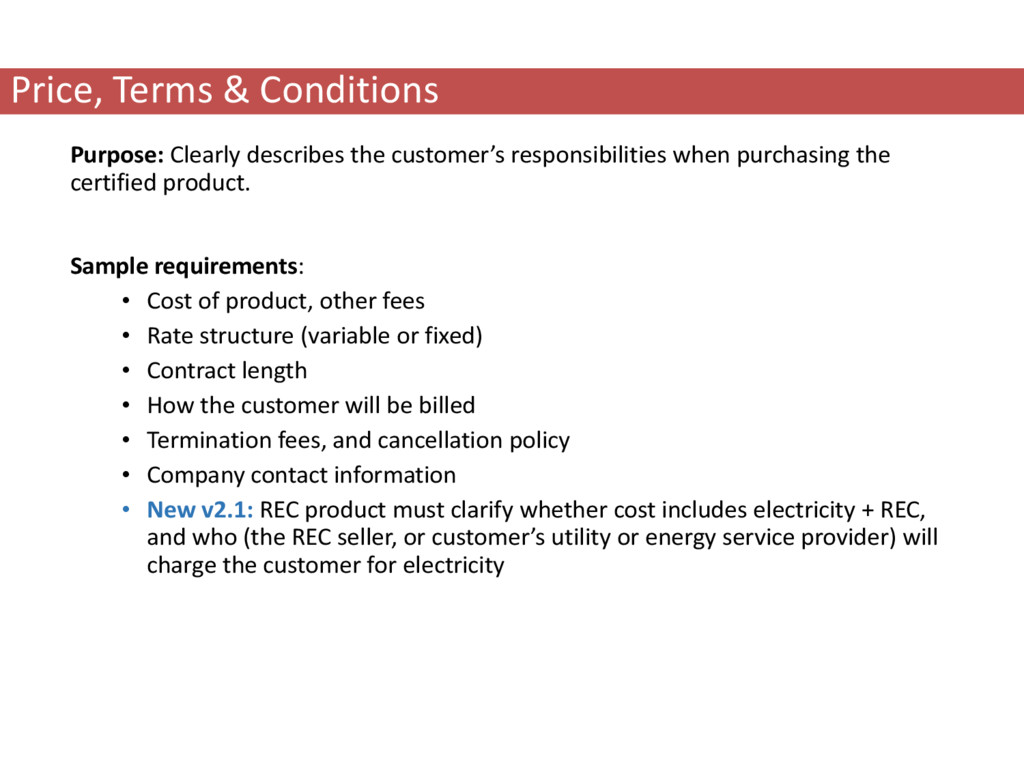 Price, Terms & Conditions Purpose: Clearly desc...