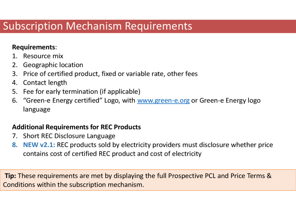 Subscription Mechanism Requirements Requirement...