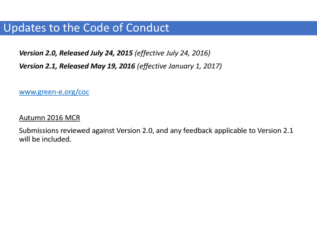 Updates to the Code of Conduct Version 2.0, Rel...