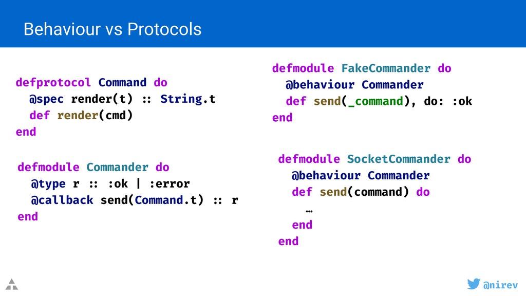 @nirev Behaviour vs Protocols defmodule FakeCom...