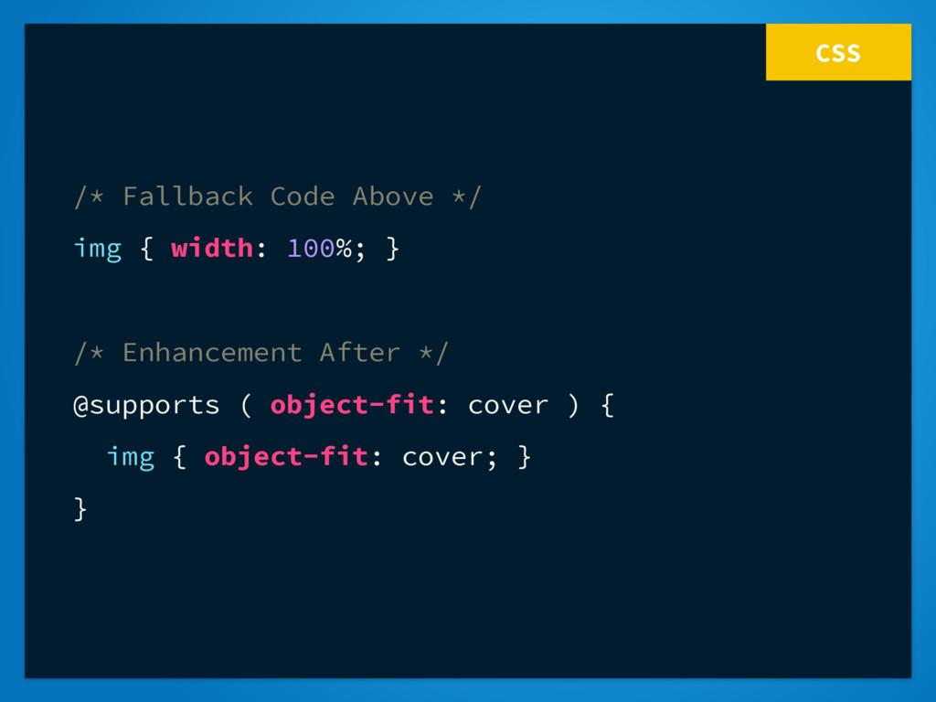CSS /* Fallback Code Above */ img { width: 100%...
