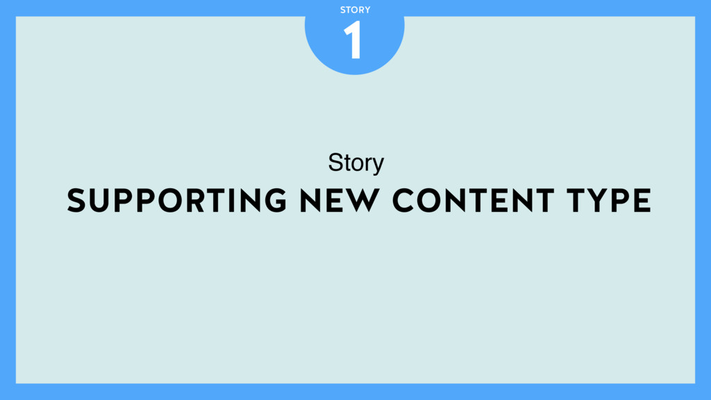 SUPPORTING NEW CONTENT TYPE 1 STORY Story