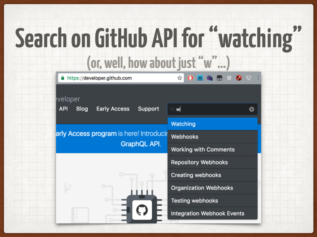 "Search on GitHub API for ""watching"" (or, well, ..."