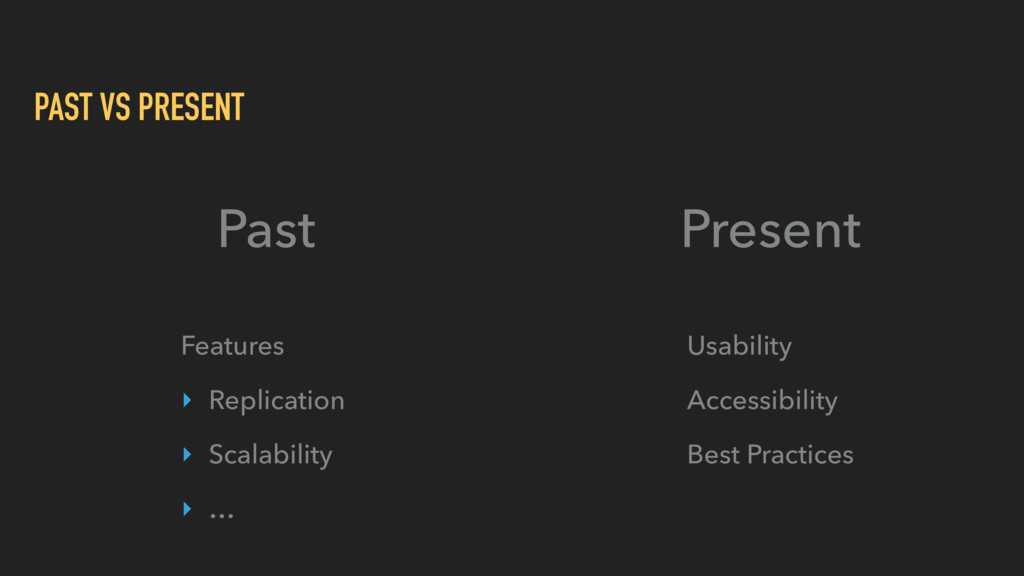 PAST VS PRESENT Past Present Features ‣ Replica...