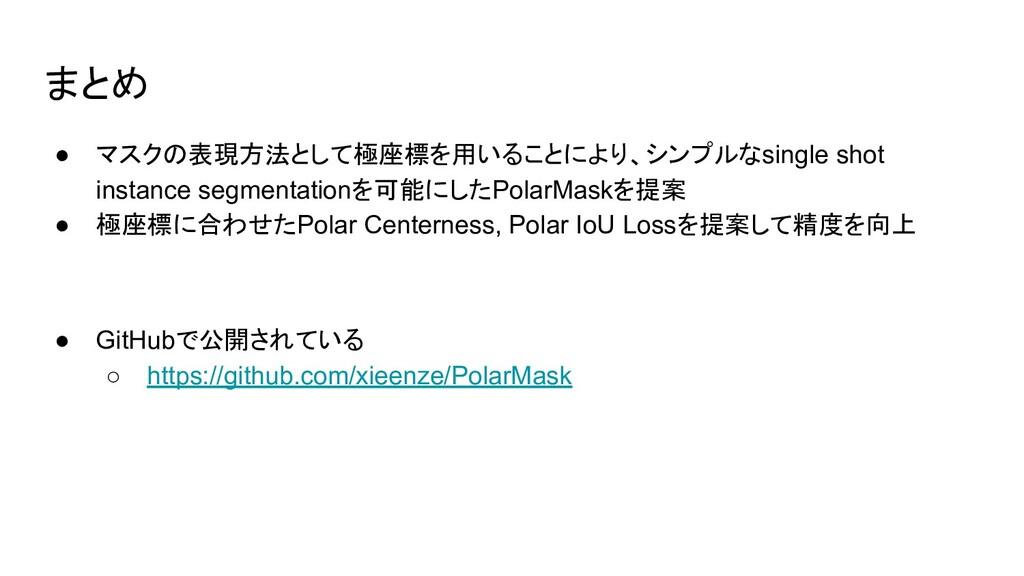 まとめ ● マスクの表現方法として極座標を用いることにより、シンプルなsingle shot ...