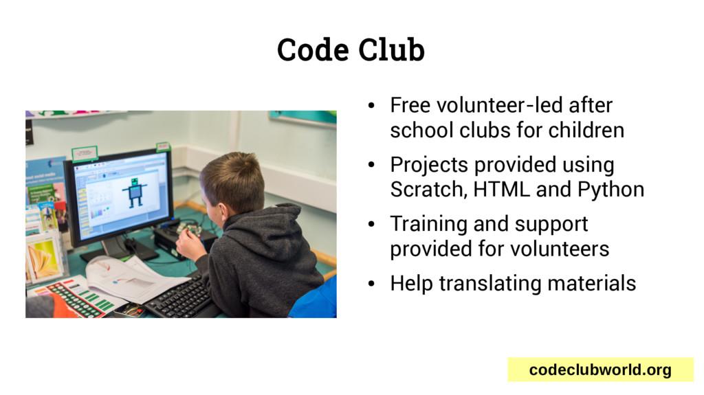 Code Club ● Free volunteer-led after school clu...