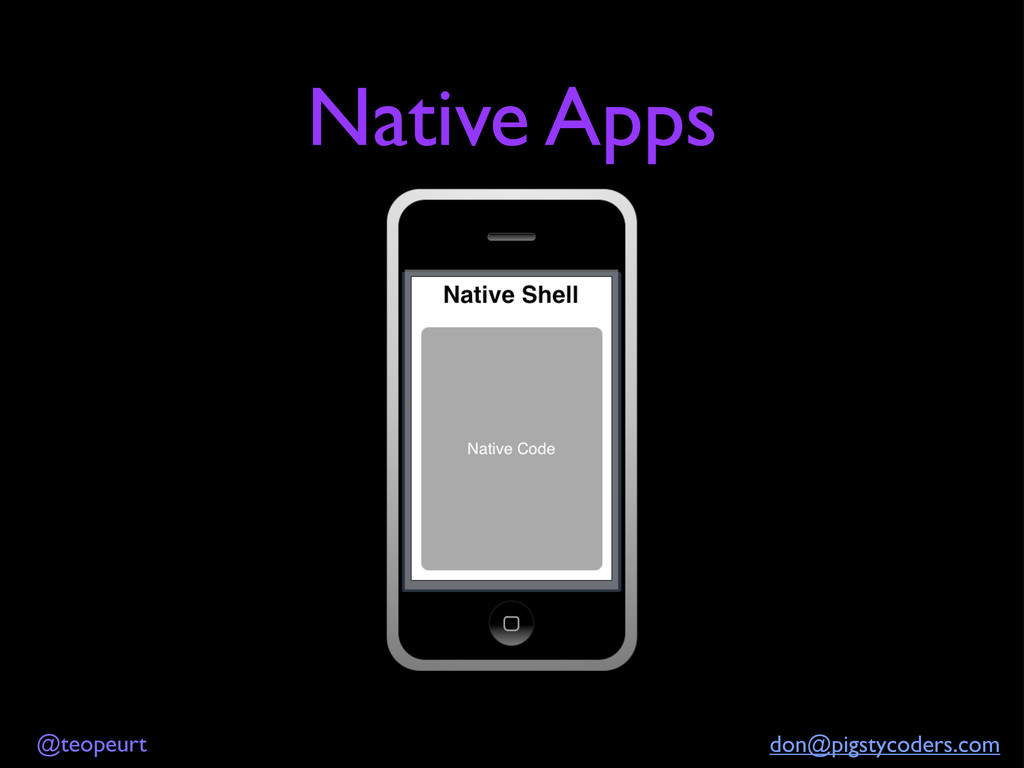 @teopeurt don@pigstycoders.com Native Apps