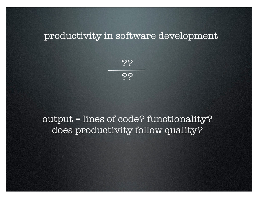 productivity in software development ?? ?? outp...