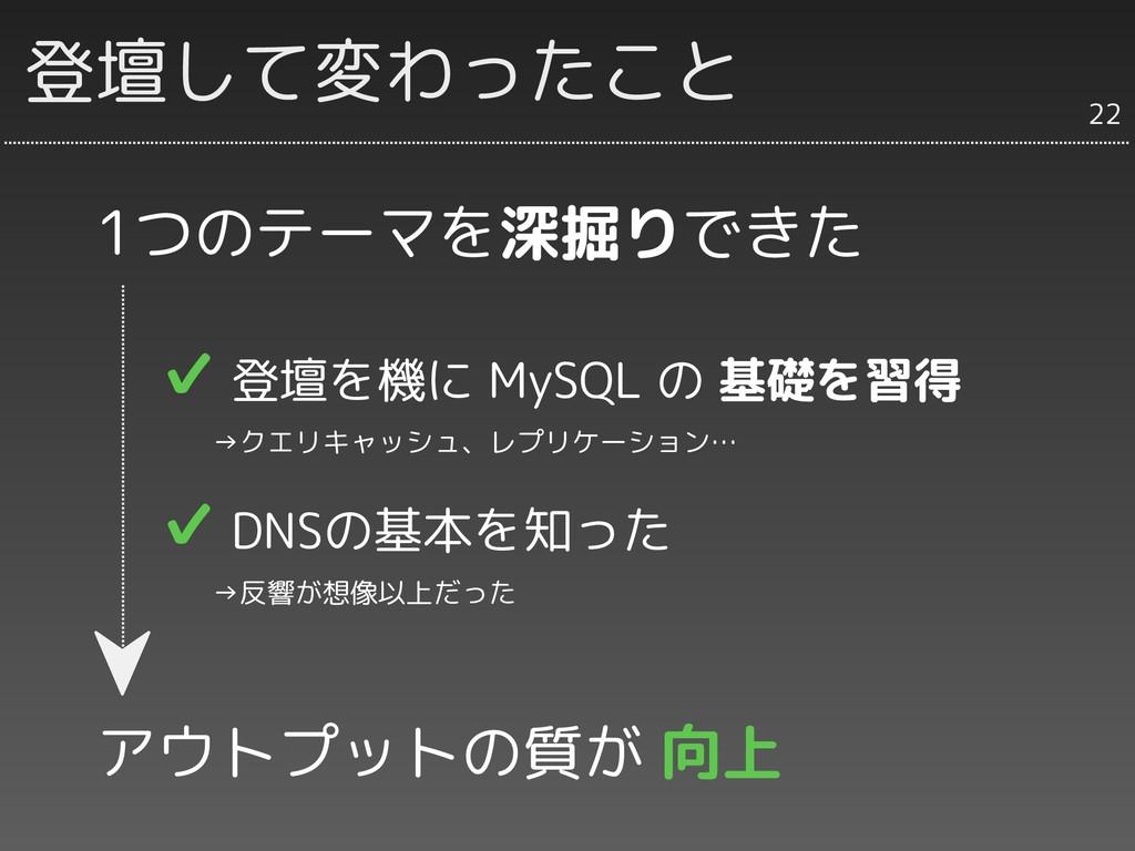 登壇して変わったこと 1つのテーマを深掘りできた ✔ 登壇を機に MySQL の 基礎を習得 ...