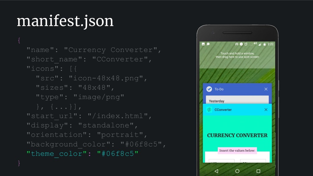"manifest.json { ""name"": ""Currency Converter"", ""..."