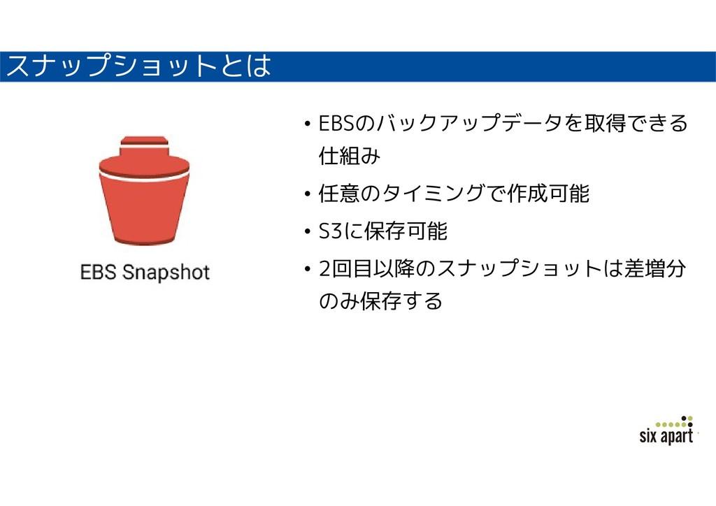 スナップショットとは • EBSのバックアップデータを取得できる 仕組み • 任意のタイミング...