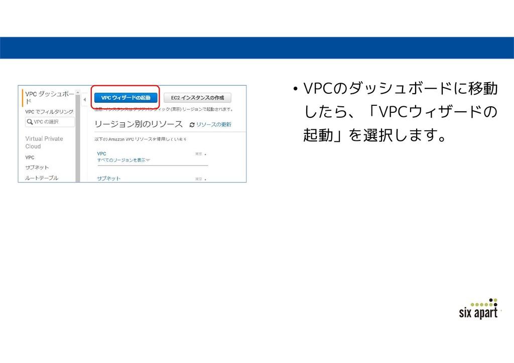 • VPCのダッシュボードに移動 したら、「VPCウィザードの 起動」を選択します。
