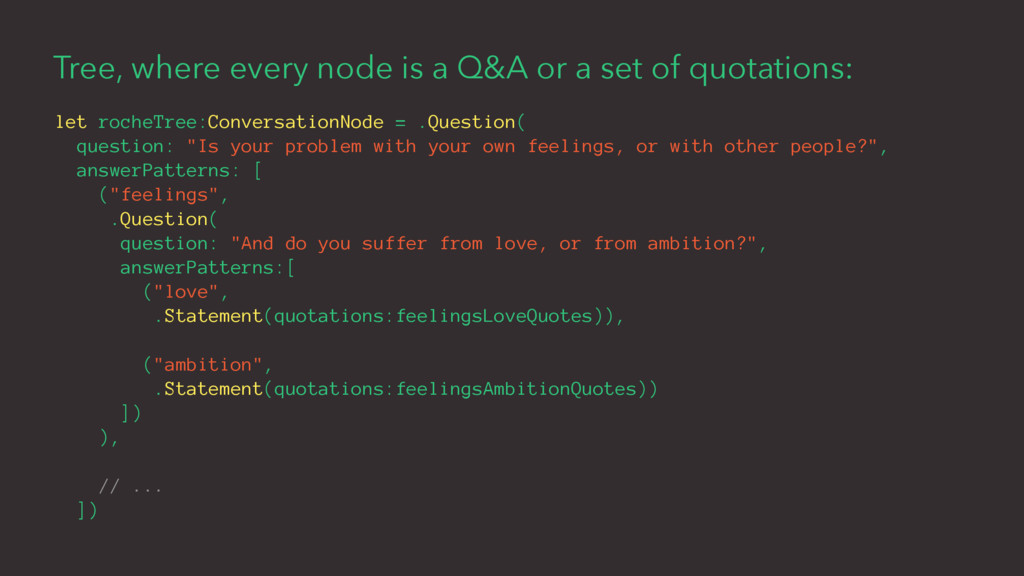 Tree, where every node is a Q&A or a set of quo...