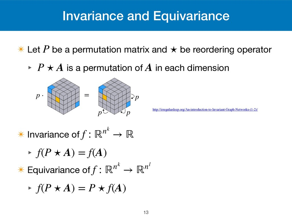 Invariance and Equivariance ✴ Let be a permutat...