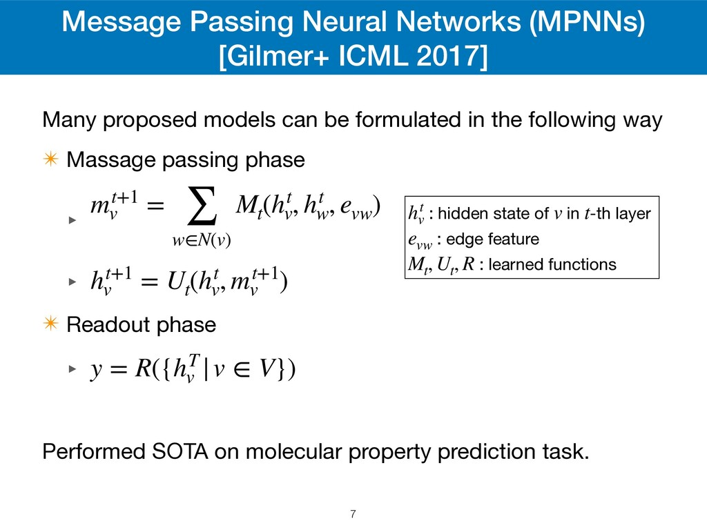 Message Passing Neural Networks (MPNNs) [Gilmer...