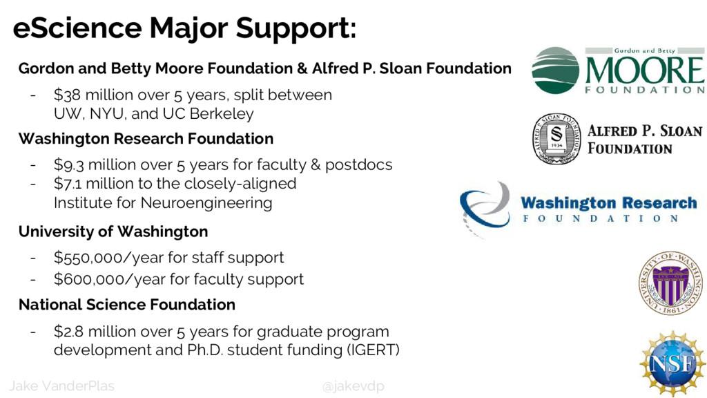 @jakevdp Jake VanderPlas eScience Major Support...