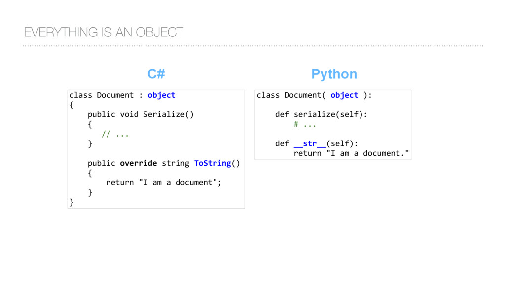 EVERYTHING IS AN OBJECT C# class Document : obj...