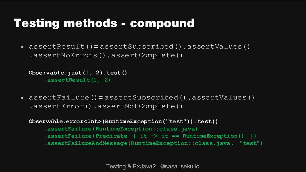 Testing methods - compound n assertResult()= as...