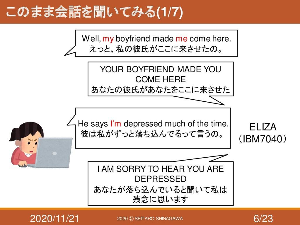 2020/11/21 2020 Ⓒ SEITARO SHINAGAWA このまま会話を聞いてみ...