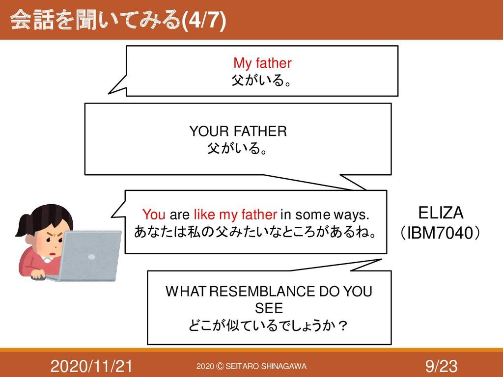 2020/11/21 2020 Ⓒ SEITARO SHINAGAWA 会話を聞いてみる(4/...