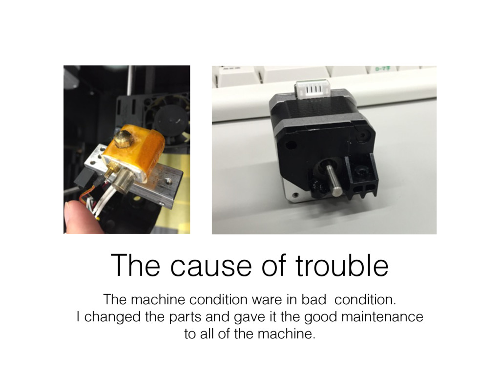 The cause of trouble The machine condition ware...