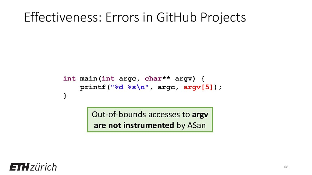 Effectiveness: Errors in GitHub Projects 68 int...