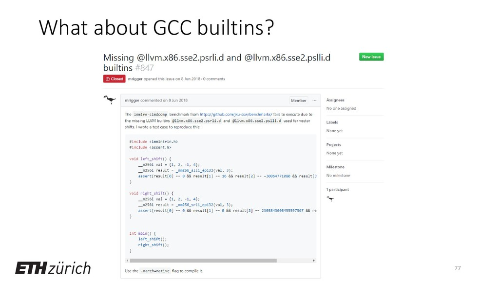 What about GCC builtins? 77