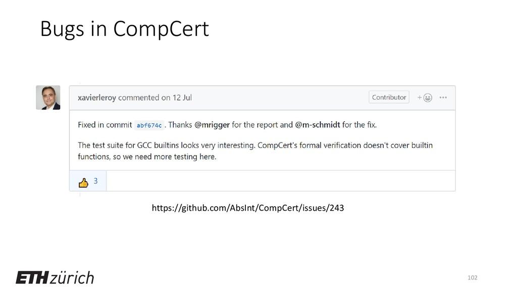 Bugs in CompCert 102 https://github.com/AbsInt/...