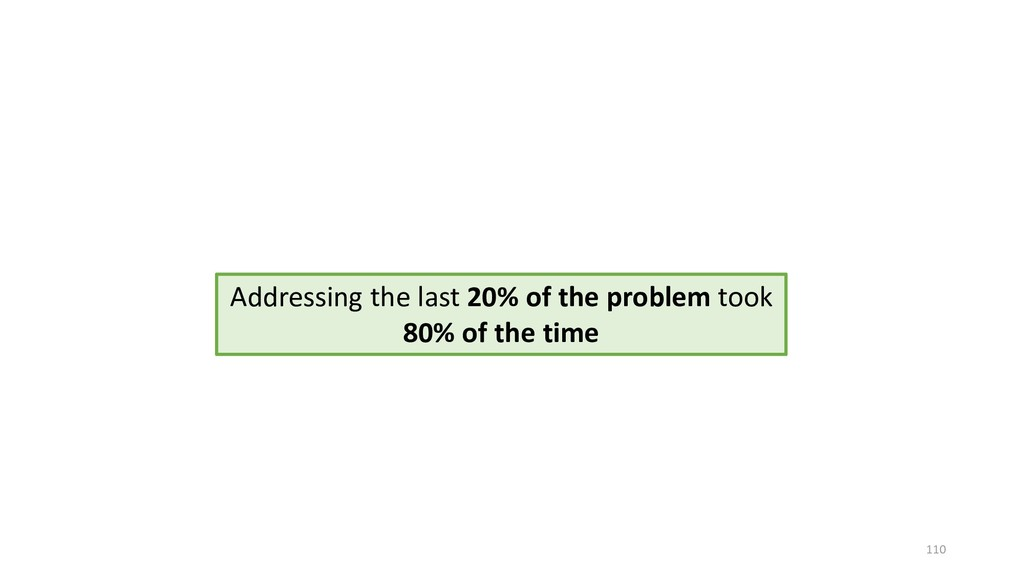 110 Addressing the last 20% of the problem took...