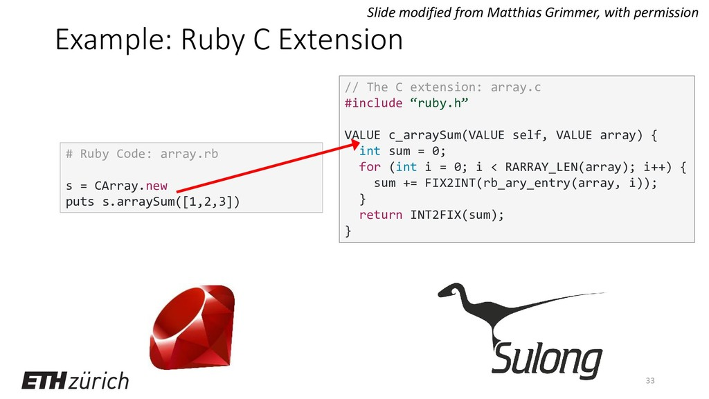 Example: Ruby C Extension 33 # Ruby Code: array...