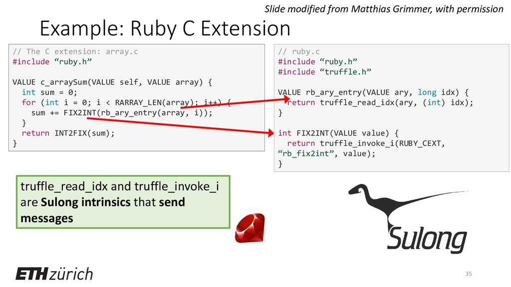 Example: Ruby C Extension 35 // The C extension...