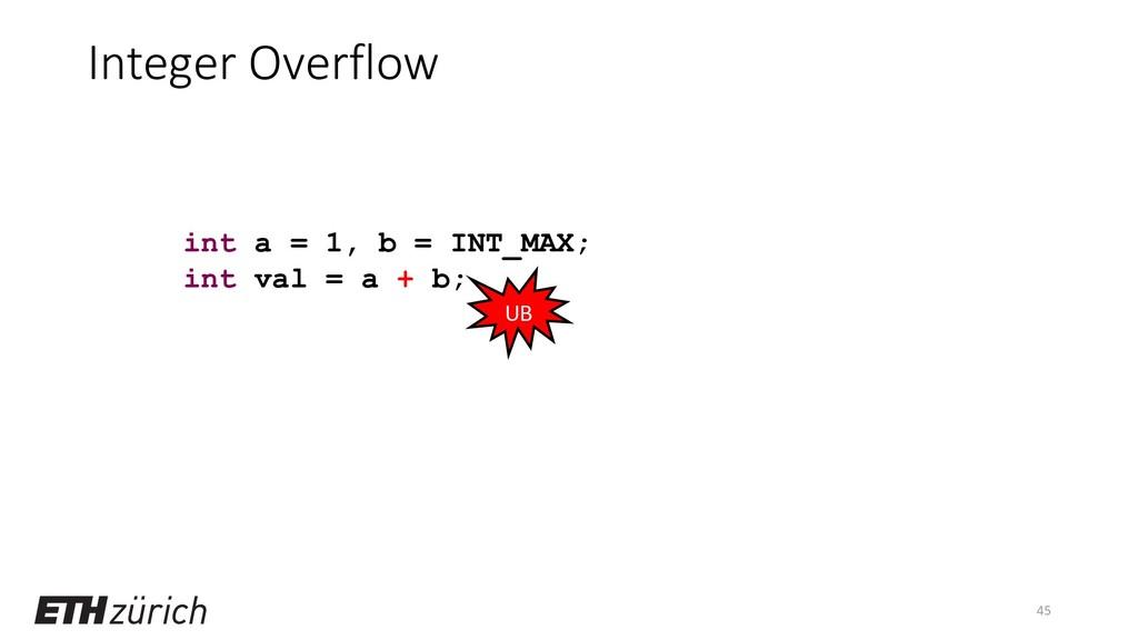 Integer Overflow 45 int a = 1, b = INT_MAX; int...