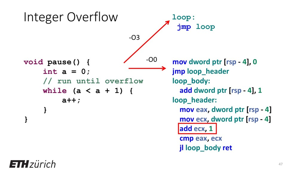 Integer Overflow 47 void pause() { int a = 0; /...