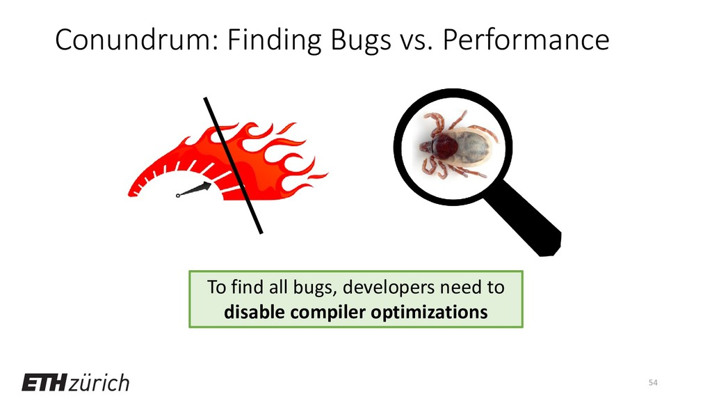 Conundrum: Finding Bugs vs. Performance 54 To f...