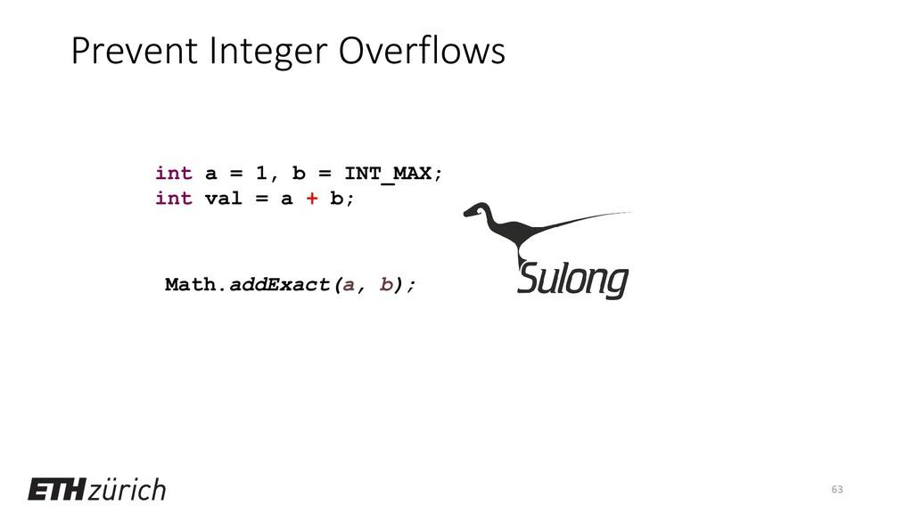 Prevent Integer Overflows 63 int a = 1, b = INT...
