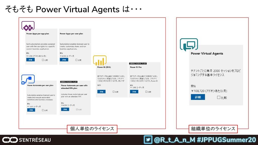 そもそも Power Virtual Agents は・・・ 個人単位のライセンス 組織単位の...