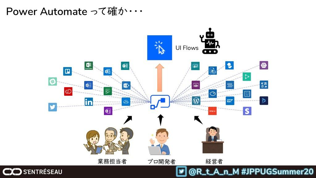 Power Automate って確か・・・ プロ開発者 経営者 業務担当者 UI Flows