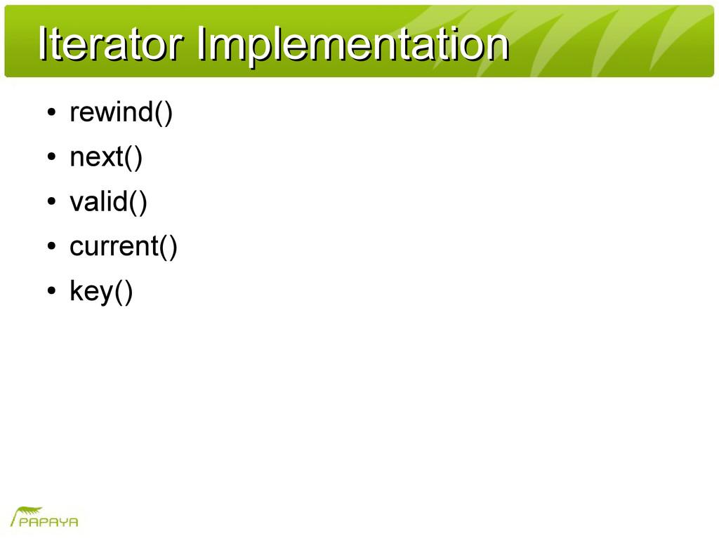 Iterator Implementation Iterator Implementation...