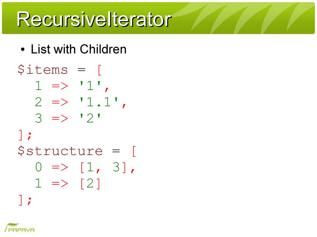 RecursiveIterator RecursiveIterator ● List with...