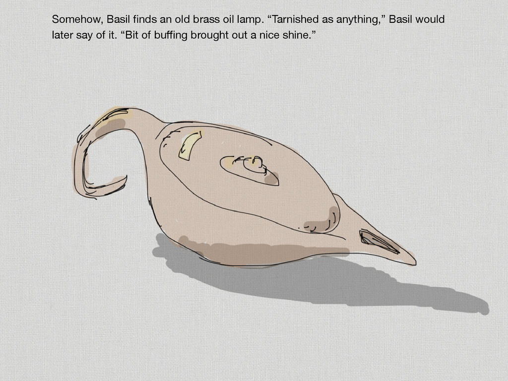 """Somehow, Basil finds an old brass oil lamp. """"Tar..."""