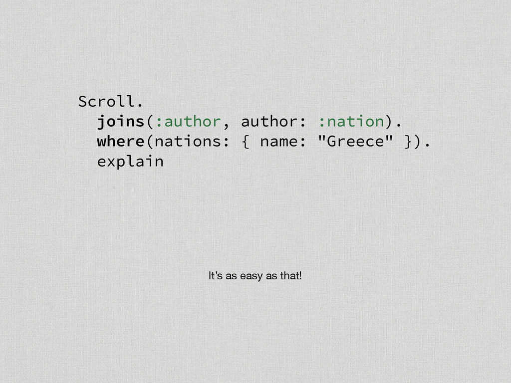 Scroll. joins(:author, author: :nation). where(...
