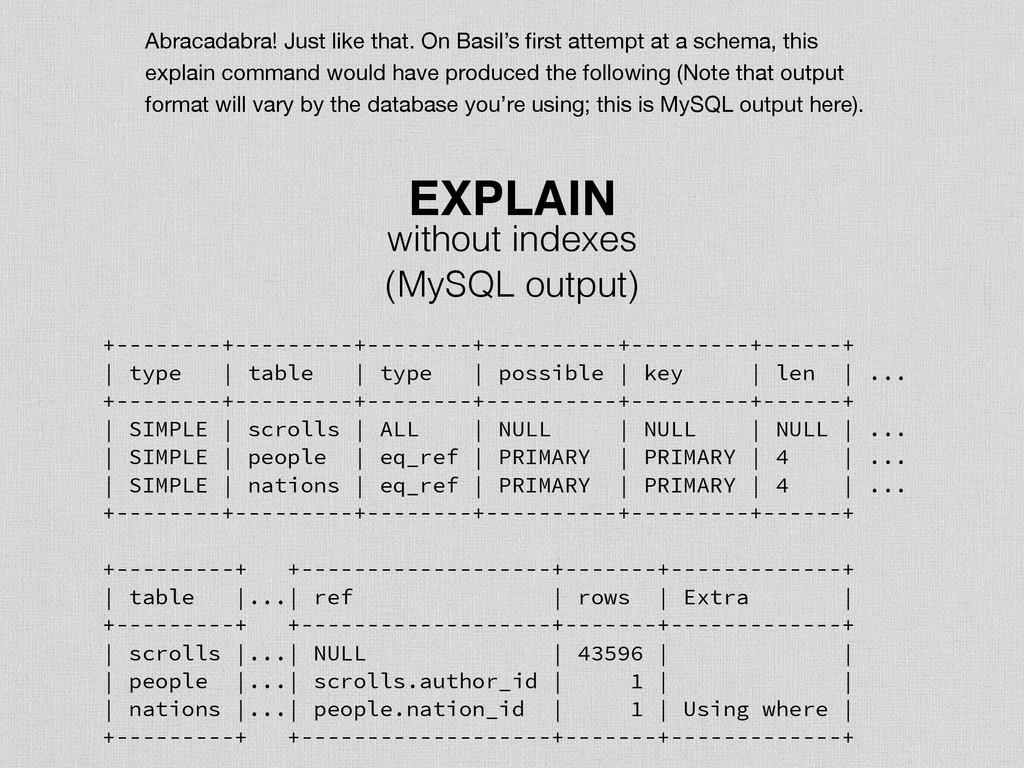 (MySQL output) EXPLAIN +--------+---------+----...