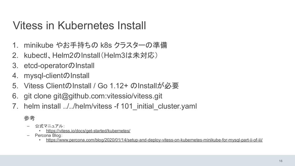Vitess in Kubernetes Install 1. minikube やお手持ちの...